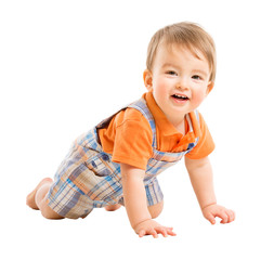 Crawling Kid, Child one year old, Happy Baby Isolated over White Background