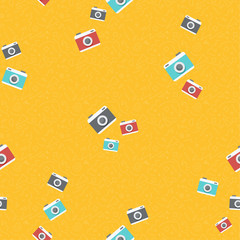 Retro photo camera background pattern art