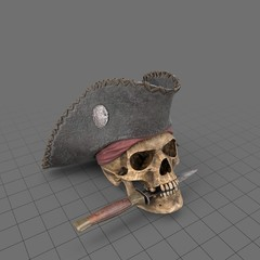 Halloween pirate skull with dagger