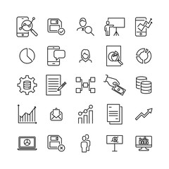 Simple collection of leadership related line icons.