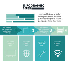 Infographic with statistics design on blue and white colors vector illustration graphic