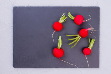 Red salad radish on slate, top view. Garden radish on slate tray with copy space. Organic food concept.