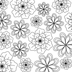 background of floral design. black and white design. vector illustration