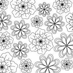 Printed roller blinds Floral black and white background of floral design. black and white design. vector illustration