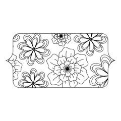 banner with floral design, black and white design. vector illustration