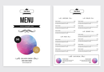 Restaurant Menu Layout with Crown and Banner Icons