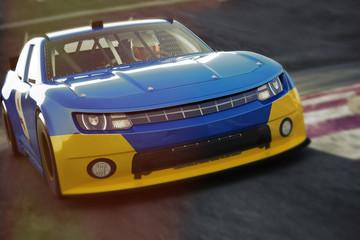 Deurstickers Motorsport Motor sports race car front angled view speeding down the track. Generic race car 3d rendering