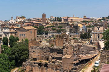 Panoramic view from Palatine Hill to city of Rome, Italy