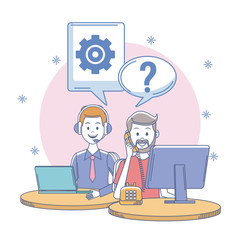 Call center office workplace with people vector illustration graphic