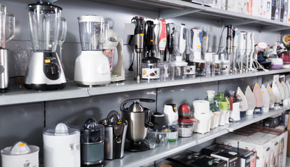 Household appliances , kitchen blenders and juicers at shop