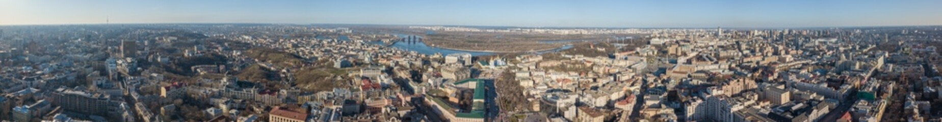 Foto op Canvas Panorama of the city of Kiev with the Dnieper river against the blue sky, Ukraine