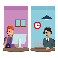 User calling to customer service vector illustration graphic