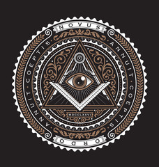 All Seeing Eye Emblem Badge Vector Logo 2 Color