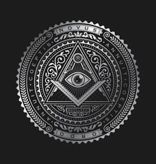 All Seeing Eye Emblem Badge Vector Logo Metallic