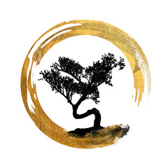 Bonsai Tree, Enso Circle, Feng Shui Symbol, Asian Art Calligraphy, Japanese / Chinese - Copy, Text, Body Space - Background Isolated