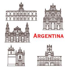 Argentina landmarks buildings vector line icons