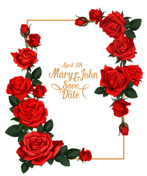 Vector floral wedding picture frame
