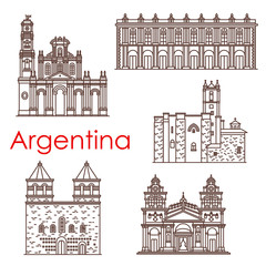 Argentina landmarks vector famous buildings icons