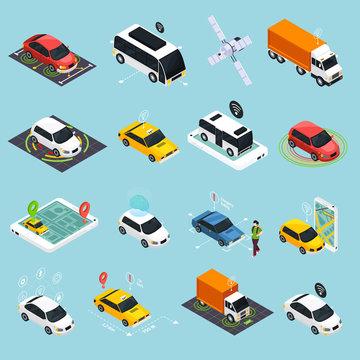 Autonomous Vehicle Isometric Icons Set