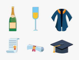icon set of graduation concept over white background, colorful design. vector illustration