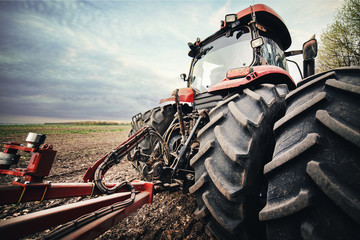 Fototapete - tractor is clinging to the seeders in the field in the spring