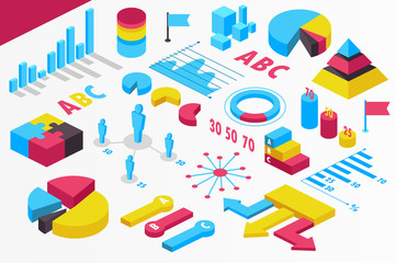 isometric infographics. presentation. isolated. set. statistics. vector illustration.