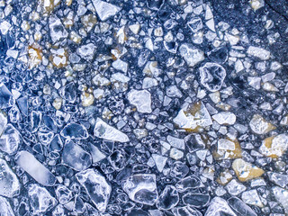Aerial view of the ice texture broken into pieces of different shapes and sizes