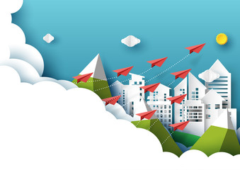 Paper airplanes flying from clouds on cityscape and blue sky.Paper art style of business teamwork creative idea concept.Vector illustration