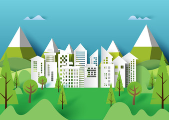 Cityscape and nature urban forest landscape creative idea concept design.Paper art style of ecology and environment conservation.Vector illustration