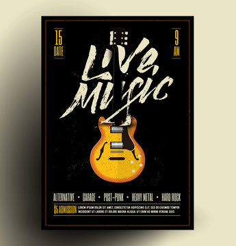 Vintage Styled Retro Live Rock Music Party or Event Poster, Flyer, Banner. Vector Template. Vector Illustration.