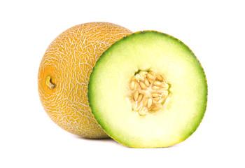 Freshly sliced cantaloupe melon isolated on white background. Juicy and sweet melon isolated.