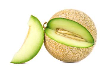 Cantaloupe melon isolated on white background. Juicy and sweet cantaloupe melon isolated on white background.