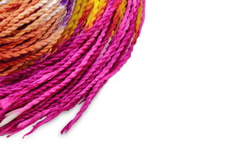 colorful rope for handicraft twist on white background