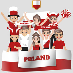 Set of Soccer / Football Supporter / Fans of Poland National Team
