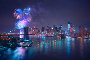 Wall Mural - New-York feux d'artifices du 4 juillet - Independance Day