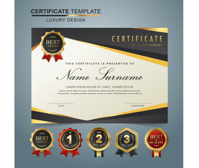 Certificate template with luxury and modern pattern, appreciation award diploma template set of gray and golden shapes and badge..