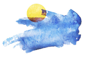 Watercolor blue background,blot, blob, splash of blue paint on white background. Watercolor blue sky, spot, abstraction. yellow sun, moon.