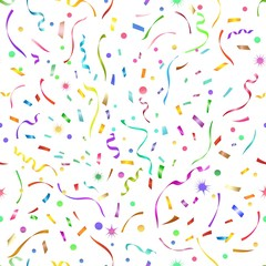 Confetti seamless pattern. Festive serpentine cute vector background for birthday, carnival or new year celebration party
