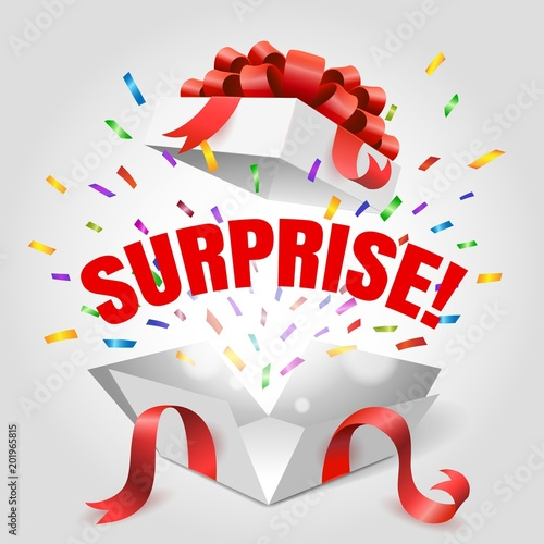 """Surprise Box. Vector Open Gift Box With Surprise Text And"