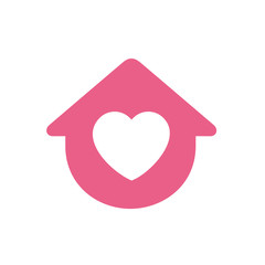 House symbol with heart shape, vector logo design