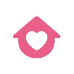 House symbol with heart shape, vector logo design