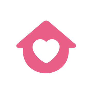 House symbol with heart shape, vector logo design, stay home flat vector sign