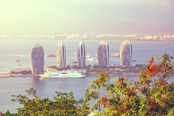 panorama of the city of Sanya, a view of the city in the highest point, the island of the Phoenix.
