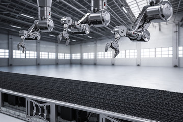robot arm with conveyor line