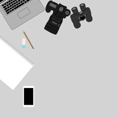 White office photography desk table with laptop, tablet, camera . Top view with copy space.Vector illustration