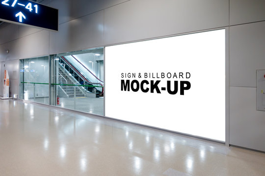 Mock up large advertisement signboard near the entrance