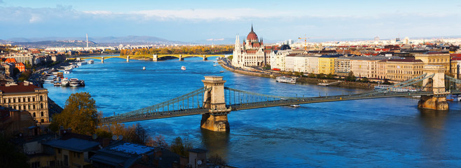 Foto op Canvas Boedapest Panorama with Chain Bridge and Parliament of Budapest