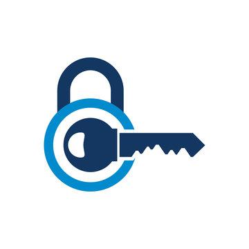 Key Lock Logo Icon Design