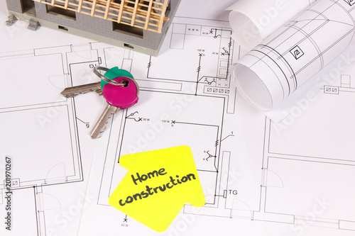 House Under Construction Home Keys And Electrical Diagrams Or