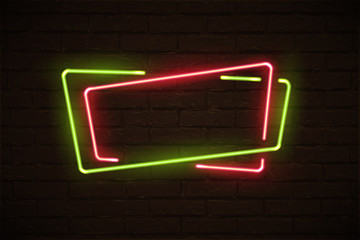 Frame made of overlapping green and red neon rectangles. Vector neon design element isolated on black background.